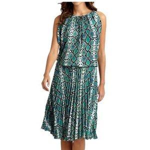 BCBGMaxAzria Pleated Lona Aqua Dress, size M
